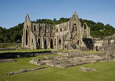 Tintern Abbey, Wales. Founded by Walter de Clare, Lord of Chepstow, in 1131. The original church dates to 1150, though it was rebuilt in grand fashion in the late 13th century. In contrast to normal Cistercian simplicity of design, Tintern was decorated with intricate floor tiles and painted glass. At the time of the Dissolution, Tintern was the richest monastic establishment in all of Wales.