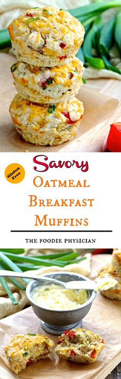 Savory Oatmeal Breakfast Muffins.  Sponsored by @bobsredmill oats, these gluten free muffins celebrate the wonderful flavors of Sunday brunch! #BRMoats | @foodiephysician