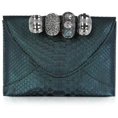 Maison du Posh Metallic Python Leather Knuckle Clutch ($998) ❤ liked on Polyvore