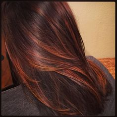 Dark brown base melting into auburn and copper ends. Gorgeous!