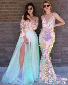 Aaaah iridescent sequin mermaid bridesmaid wedding dress goodness! Dresses by Teuto Matoshi Duriqi - for more inspo, visit www.facebook.com/andsotowed