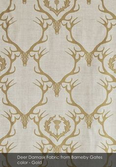 Deer Damask Fabric from Barneby Gates in Gold-- in bed cubbies