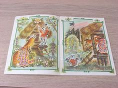 Soviet baby book fox hare and cock 1984 Vintage