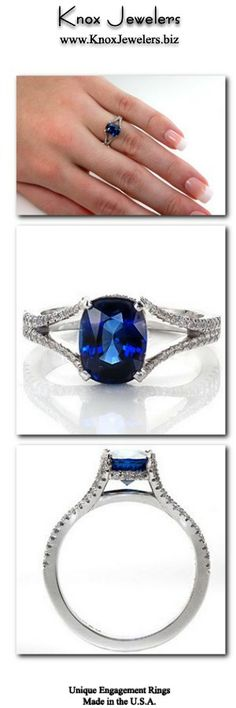 Our Royal Blue engagement ring design emits regal elegance with rich velvety blue tones. The center stone is a beautiful 2.0 carat cushion cut sapphire set in a four prong setting with micro pavé diamond under bezel. The diamonds continue along the split-shank band design that is gracefully frames the sapphire. For more information about our ring with interest free financing.