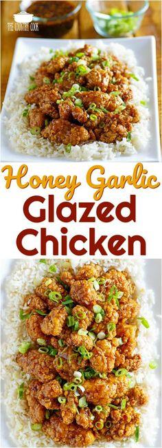 Easy Honey Garlic Glazed Chicken recipe from The Country Cook #ad #FeedABee #chicken #recipes #dinner #ideas #popcornchicken