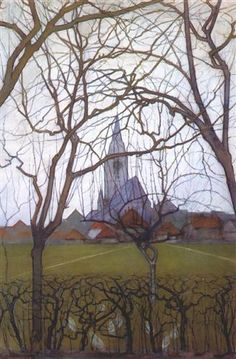 Piet Mondrian, Village Church, charcoal, gouache, pencil, pastel and watercolor on paper, 1898, Private Collection