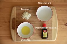 Lip Balm 1 tbsp coconut oil 1 tbsp beeswax 1 tsp olive oil 1/8 tsp peppermint extract ** Some type of container to hold the lip balm