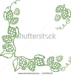 Decorative hops vector illustration border - stock vector