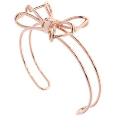 Ted Baker Ginesa Geometric Bow Cuff Bracelet - Rose Gold ($61) ❤ liked on Polyvore featuring jewelry, bracelets, metallic, rose gold bangle, gold tone cuff bracelet, red gold jewelry, bow bangle and gold tone jewelry
