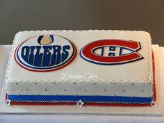 Edmonton Oilers and Montreal Canadiens Logo Wedding cake