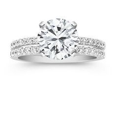 Diamond Wedding Set with Pave Setting at Shane Co. Love this set!