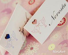 Svadobné menovky VTÁČIKY / NoiArt - SAShE.sk - Handmade Papiernictvo