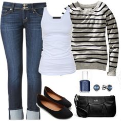 Levi's cuffed 505s, Forever 21 tank, forever 21 sweater, ballet flats.