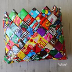 CANDY WRAPPER CRAFTS WEEK!  Woven Purse/Bag! Make an adorable Upcycled Statement with this woven purse!