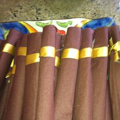Made these cute cigar napkins for my 40th Havana Theme Bday. The guest loved them.