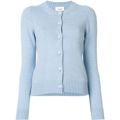 Barrie Buttoned Cardigan ($955) ❤ liked on Polyvore featuring tops, cardigans, blue cardigan, button cardigan and blue top