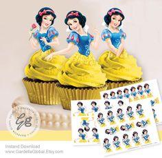 Nieve blanca Cupcake Toppers princesa Blancanieves por DellaGlobal