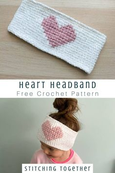 Soft and cute, you'll love the Here's my Heart Headband Crochet Pattern. Simple crochet stitches plus a cross stitch heart give the headband a unique look. Crochet Headband Free, Crochet Yarn, Crochet Stitches, Crochet Shrugs, Crochet Granny, Crotchet, Hand Crochet, Free Crochet, Crochet Patterns For Beginners