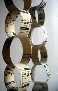 Paper Chain Sheet Music.  Fun for the whole family and will look great on your Music themed Christmas Tree!