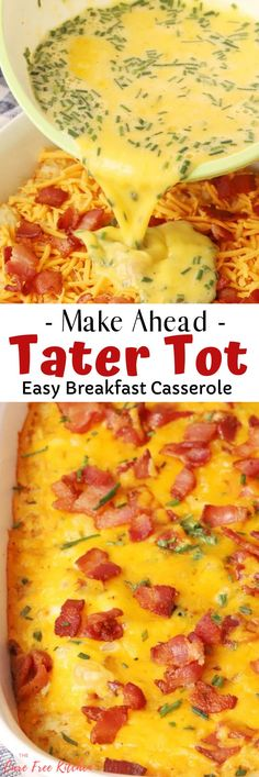 One bite and you'll be asking where this comfy, cozy, super satisfying Tater Tot Breakfast Casserole has been all of your life. It's quick, easy and filled to the brim with crowd-friendly favorites like bacon, cheese and tater tots. #thecarefreekitchen #breakfastcasserole #tatertots #breakfastrecipes #overnightbreakfastcasserole Vegetarian Breakfast Casserole, Tater Tot Breakfast Casserole, Overnight Breakfast Casserole, Sausage Breakfast, Breakfast Recipes, Brunch, Stuffed Peppers, Eat, Food