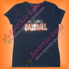 Baseball Bubble Word with Custom Text in Crystal and Hyacinth Rhinestones