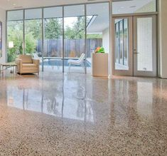 Polished Concrete for living, kitchen and hall? Concrete Kitchen Floor, Polished Concrete Flooring, Painted Concrete Floors, Concrete Furniture, Stained Concrete, Urban Furniture, Best Flooring, Basement Flooring, Flooring Options