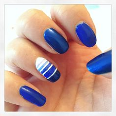 Blue stripy nails