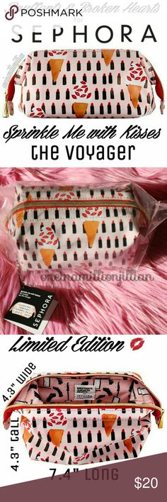 """LE Sephora Sprinkle Me with Kisses Bag New in Pkg  Full Sz & Authentic  ♡ Measures 4.3"""" tall x 7.4"""" long x 4.3"""" wide ♡ Light pink with allover print of ice cream cones, lipsticks & kiss marks  A portable medium-sized makeup bag. Limited Edition collaboration with the illustrator Kendra Dandy of Bouffants & Broken Hearts.  This beautiful coated canvas bag allows you to throw in beauty items & organize however you like. Unlike other cosmetic bags, the Voyager's pop-up frame provides you with…"""