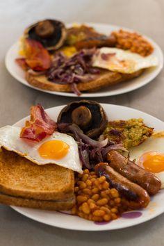 England - toast, baked beans, sausage, mushrooms, eggs, onions etc...