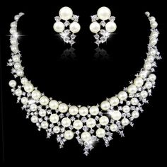 Cream/Ivory Pearl Wedding Necklace Earring Set by Annamall on Etsy, $32.99
