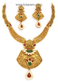 22K Gold Antique Necklace & Drop Earrings Set with Stones - GS2835 - Indian Jewelry Designs from Totaram Jewelers