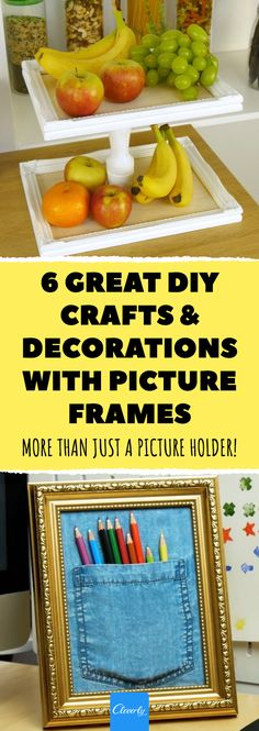 6 Picture Frame Crafts That Will Make Your Home Look Great – Is Perfect For The Kitchen! Picture Frame Crafts, Picture Frames, Decor Crafts, Diy Crafts, Picture Holders, Home Hacks, Home Look, Decoration, Tricks