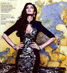 Nargis fakri wearing Gehna jewellery in Vogue November Edition