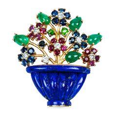 14k Multi-Gem Floral Basket Gold Pin Brooch
