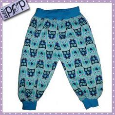 LilliPOP barnkläder: LilliPOP byxor med ugglor i turkos.