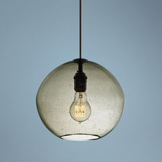 "Retro yet modern at the same time, love those filament bulbs...LBL Isla Smoke Bronze 9 3/4"" Wide Pendant Light 