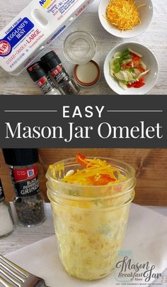 No time for a hot breakfast Think again! If you have a few minutes, then you can whip up this delicious and healthy Mason jar breakfast recipe for an easy Omelet in a Jar Give it a try today! mason is part of Mason jar breakfast recipes - Pot Mason, Mason Jar Meals, Meals In A Jar, Mason Jar Diy, Mason Jar Recipes, Canning Jars, Easy Omelet, Omelette Ideas, Healthy Omelette