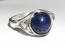 Ring-Silver filled wire lapis lazuli ring-handmade
