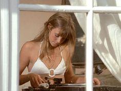 jane birkin // white bikini // record playing // GIF // fashion icon // style idol // iconic women // 1960s // 1970s // 60s // 70s