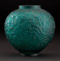 """R. LALIQUE. """"Ceylan"""" An Opalescent Glass Vase with blue 