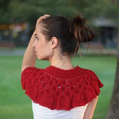 Hand Knit Red Cape/ Red Scarf/ Knitting Scarflette/ Hand Knit Shawl/ Knit Collar/ fall/ spring/ gift/ Accessory/ Women Fashion by Solandia via Etsy