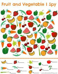 """Plusieurs """"cherche et trouve"""" sous différents thèmes +dénombrement Fruit and Vegetable I Spy game - free printable!"""