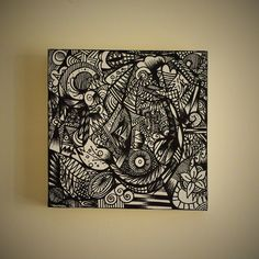 Black ink freehand drawing on white box canvas 20cm by ClareCrafts, £30.00