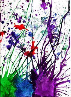 Running ink splatters