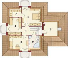 Damokles - Rzut poddasza Framing Construction, House Construction Plan, Modern House Design, Floor Plans, Mountain, Garden, Cool Houses, Garten, Lawn And Garden