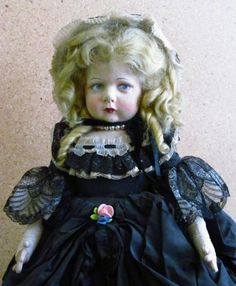 """I love this dolls face(even though she doesn't look very happy!)Her coloring is just lovely,& she is magnificently dressed;even has a pearl necklace!Early RARE 20"""" Lenci Gone with the Wind ? 1930's Black Taffeta Doll"""