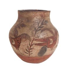 Antique Native American Pot Ca. slip decorated pottery vessel, features four red birds. Dia (opening) x 8 H x 6 W; Native American Pottery, Native American Art, American Indians, Outside Fire Pits, Cultural Artifact, Fire Pots, Brick Arch, Styling Brush, Metal Figurines