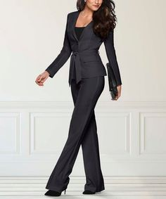 Venus Black Tie-Waist Blazer & Black Wide-Leg Trousers - Women & Plus Black Wide Leg Trousers, Holiday Party Dresses, Black Blazers, Trousers Women, Black Tie, Venus, Jumpsuit, Highlights, Clothes