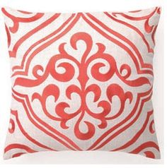 Mango Mosaic Tile Pillow.  Enhanced with a embroidered mango mosaic tile design against a crisp 100% linen background.