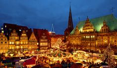 Christmas magic lights up the Bremen Christkindlmarkt and the Schlachted Magic market along the banks of the River Weser. Photo: Courtesy of German Christmas Market.Org.UK. Unauthorized use is prohibited. via @JeffTitelius